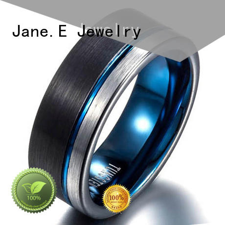 JaneE shiny polished tungsten rings for women damascus texture for engagement