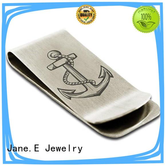 JaneE custom logo engraving mens money clip adjustable for men's wallet