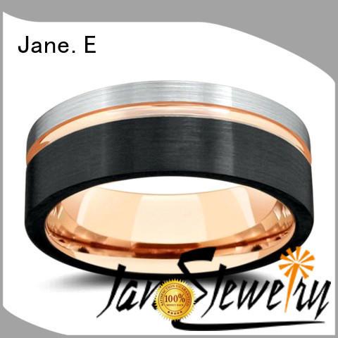 JaneE unique design tungsten carbide ring 8mm meteorite for engagement