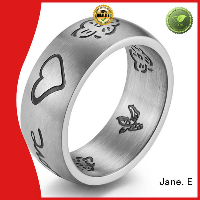 JaneE customized mens steel rings multi colors for weddings