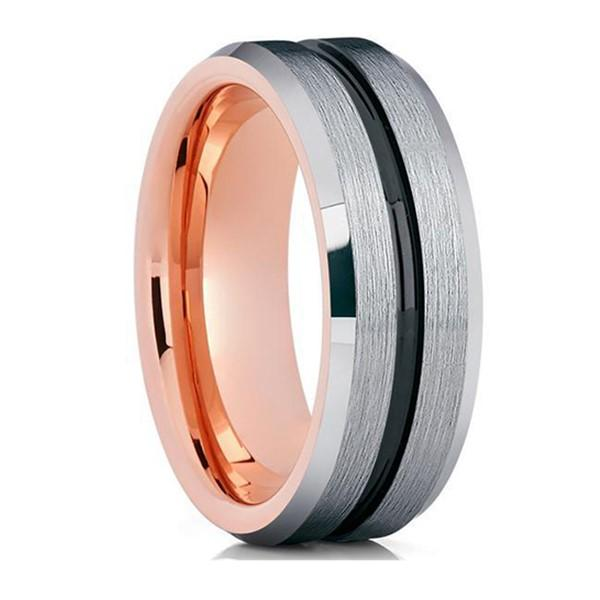 JaneE inlay brushed black tungsten wedding bands matt for gift-1