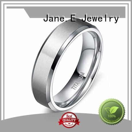 JaneE polished edge titanium ring core simple for engagement
