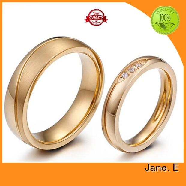 JaneE AAA CZ Stones mens steel rings fashion design for weddings