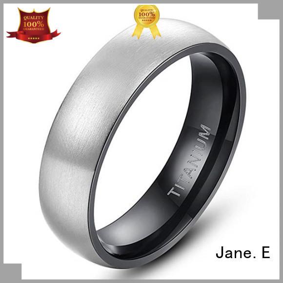 JaneE center beveled custom titanium wedding rings factory direct for engagement