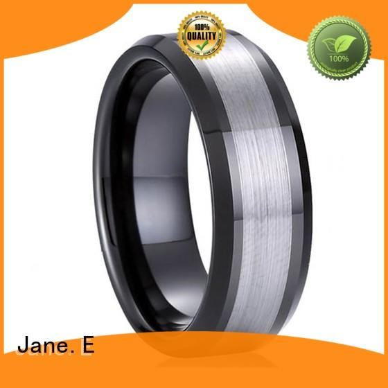 shiny polished women's tungsten engagement rings engraved for engagement JaneE