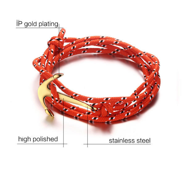 rope charm bracelet rose red for women JaneE-3