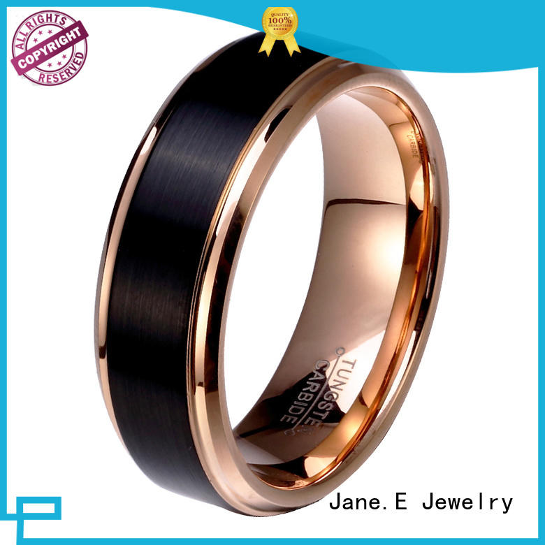 shiny polished tungsten male wedding bands meteorite engraved for wedding