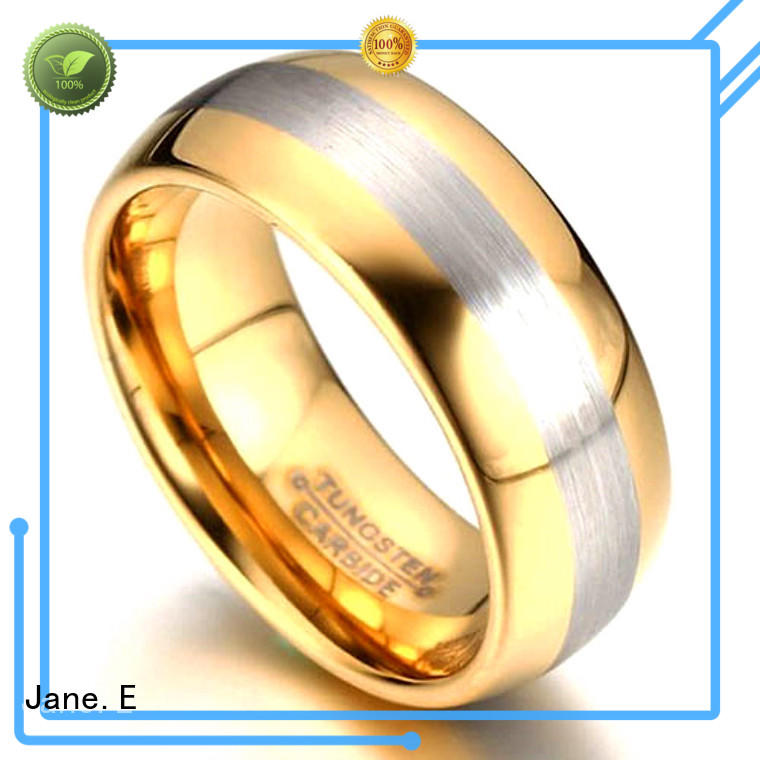 two tones tungsten engagement rings for her engraved for engagement