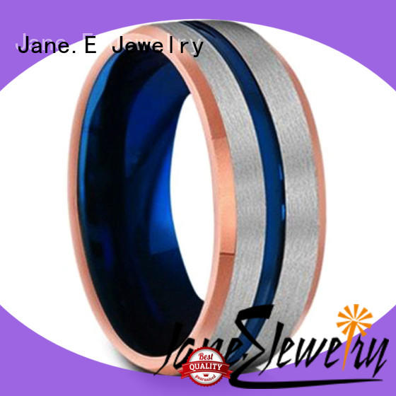 JaneE damascus texture mens gold tungsten wedding bands engraved for gift