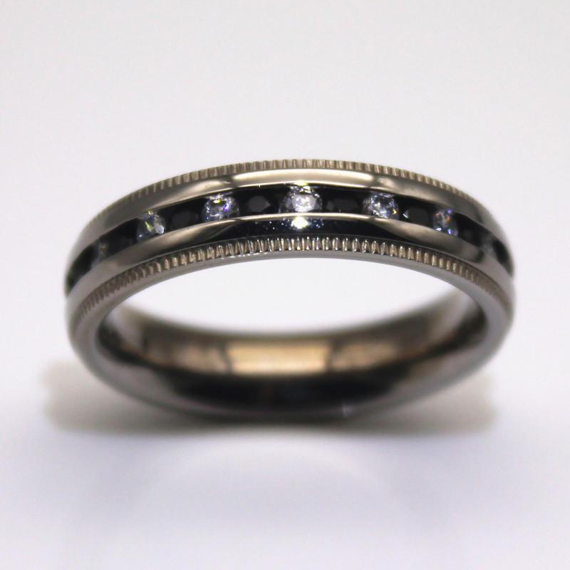 JaneE shiny mens stainless wedding bands milgrain for weddings-1