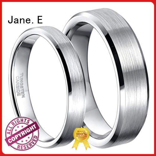 shiny polished tungsten carbide mens wedding ring two tones engraved for wedding