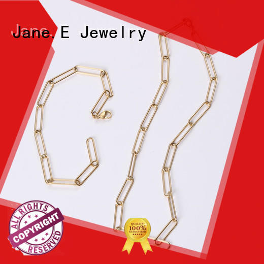 JaneE letter engraved stainless steel chain necklace manual polished for gift