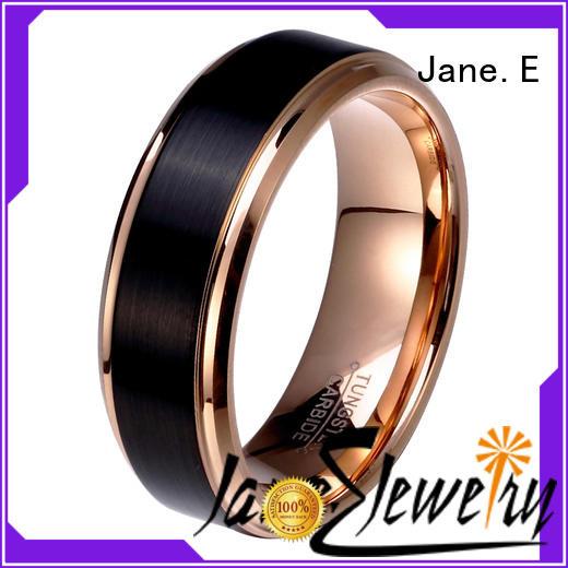 JaneE shiny polished mens black wedding bands matt for gift