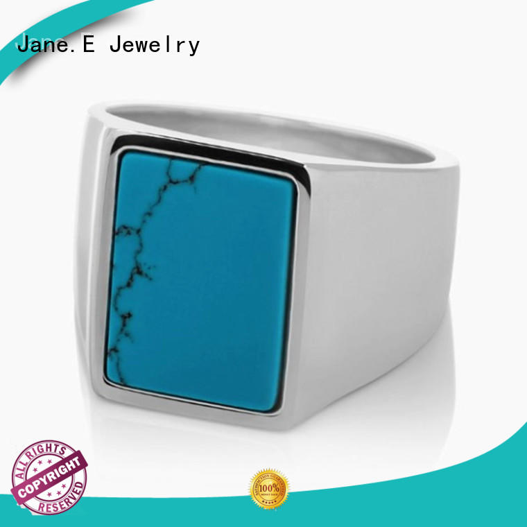 JaneE shiny stainless steel promise rings for him fashion design for decoration