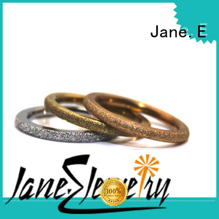 JaneE square edges stainless steel cz rings fashion design for weddings