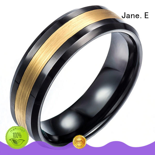 JaneE two tones tungsten ring engraved for engagement