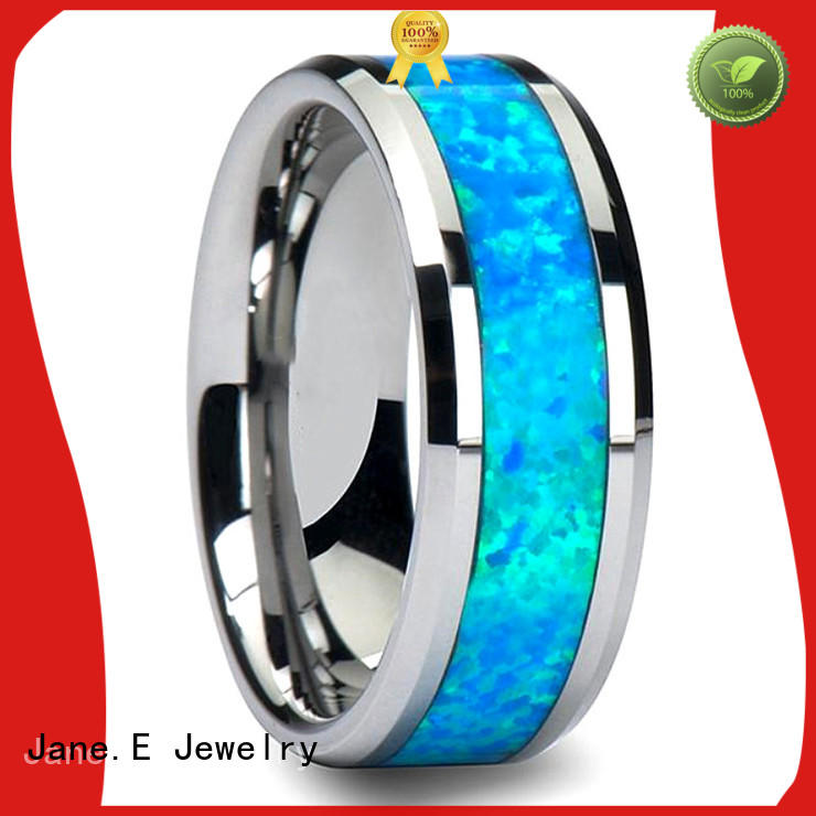 JaneE red opal blue tungsten ring exquisite for wedding