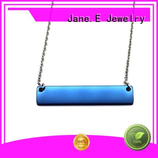 JaneE brushed surface stainless steel chain necklace mens manual polished for gift