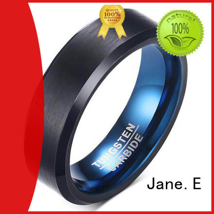 JaneE shiny polished tungsten rings for her engraved for wedding