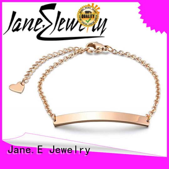 316L Stainless Steel Bar Engraved Name Chain Bracelets for Women