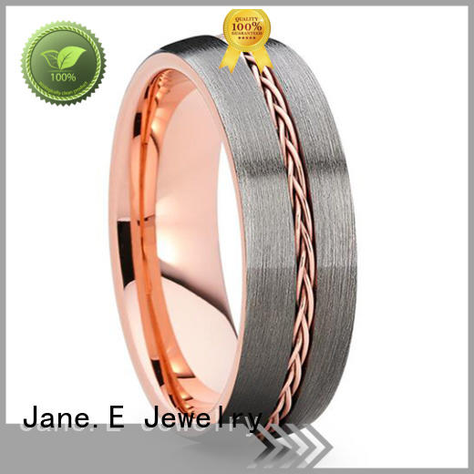 unique design gold tungsten ring red opal engraved for gift
