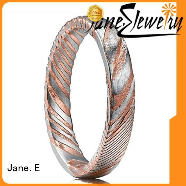 JaneE multi colors damascus steel mens wedding ring factory direct for inlay