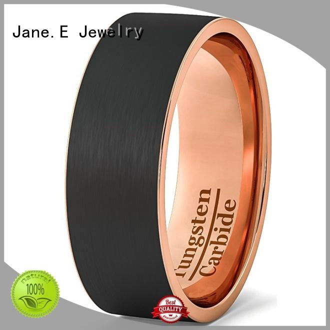 damascus texture black tungsten ring two tones for wedding JaneE