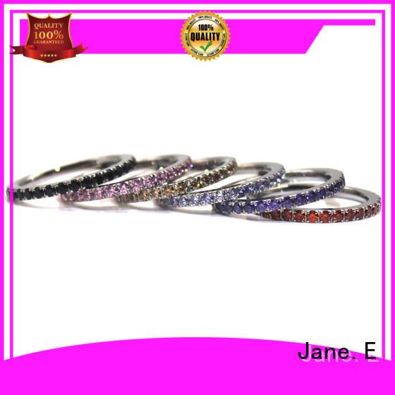 JaneE brown black steel ring multi colors for weddings