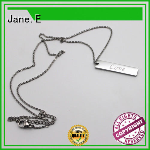 letter engraved black stainless steel necklace factory direct for gift