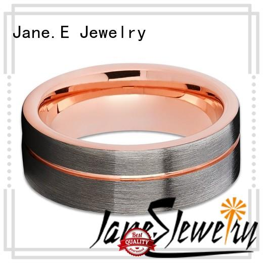 JaneE inlay brushed 6mm tungsten ring matt for engagement