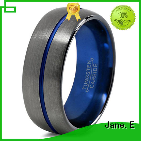 JaneE two tones mens tungsten wedding bands engraved for gift