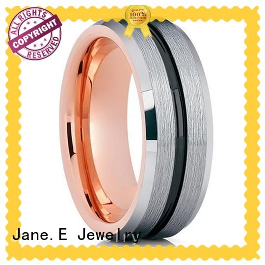 JaneE inlay brushed black tungsten wedding bands matt for gift