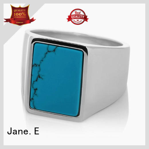 square edges hammered steel ring blue fashion design for men