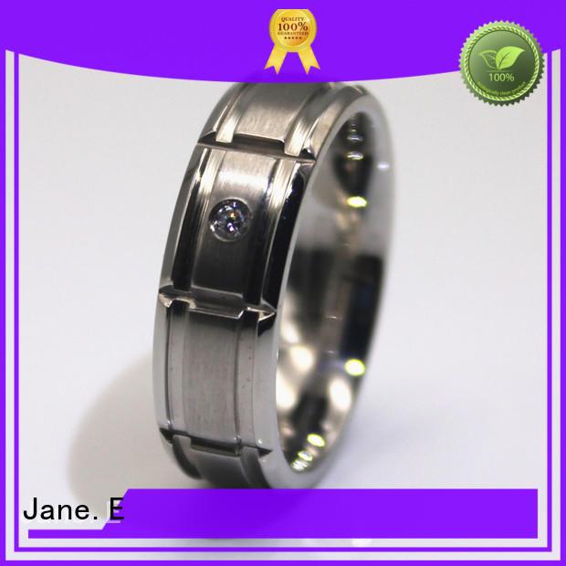 milgrain stainless steel promise rings for her black for weddings JaneE