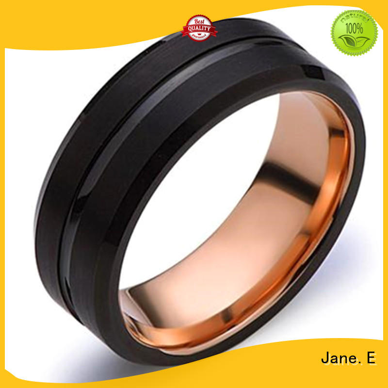 JaneE meteorite mens black wedding bands matt for wedding