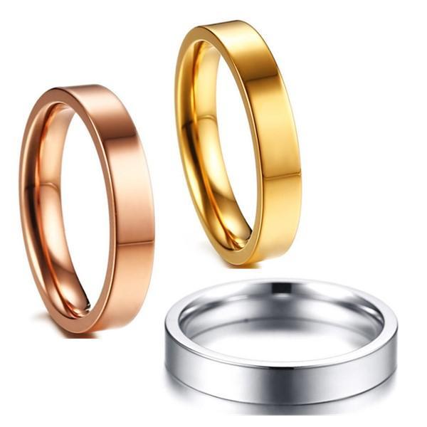 JaneE polished edge black titanium rings simple for engagement-1