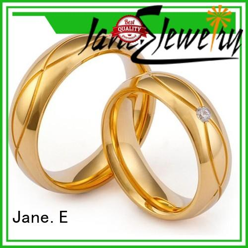 JaneE square edges women's stainless steel rings fashion design for decoration