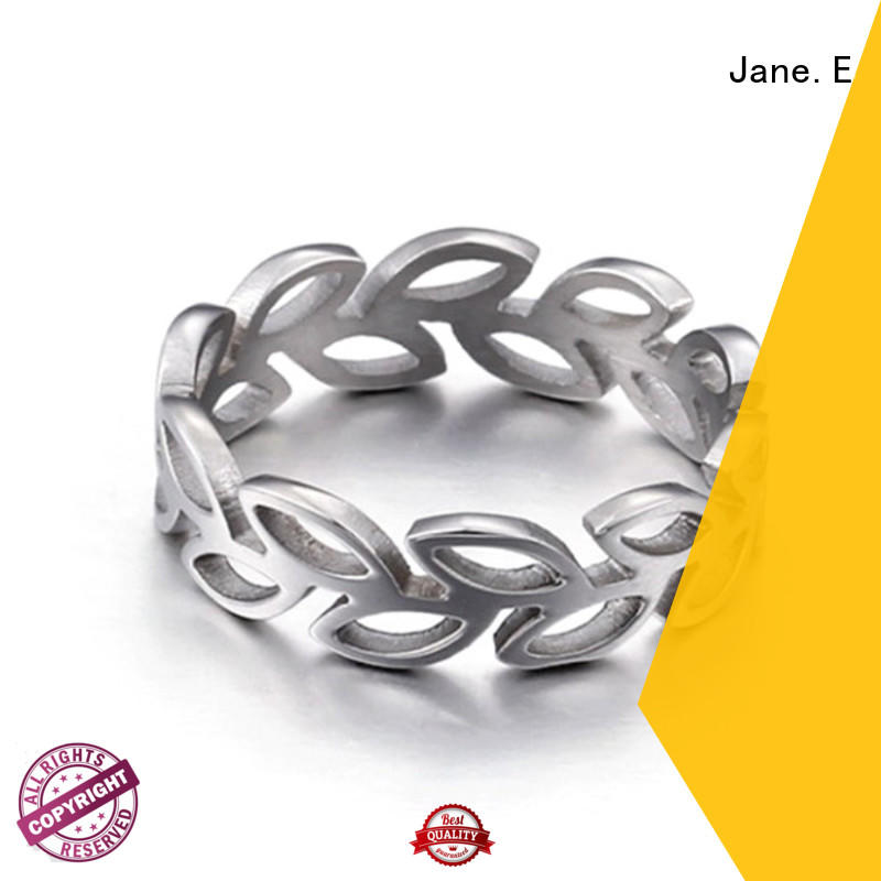 JaneE shiny stainless steel engagement rings comfortable for men