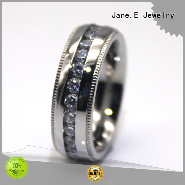 JaneE black stainless steel jewelry rings fashion design for weddings