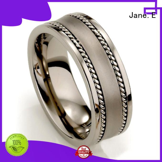 JaneE silver black titanium engagement rings simple for wedding