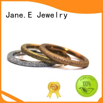 High Quality Sandblasting 14K Gold Plating 316L Stainless Steel Ring for Men Women