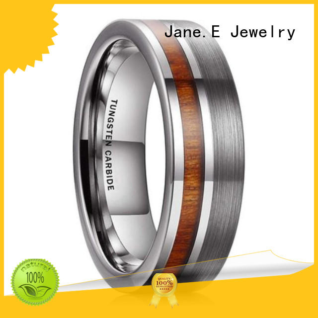 JaneE damascus texture tungsten rings for men exquisite for wedding