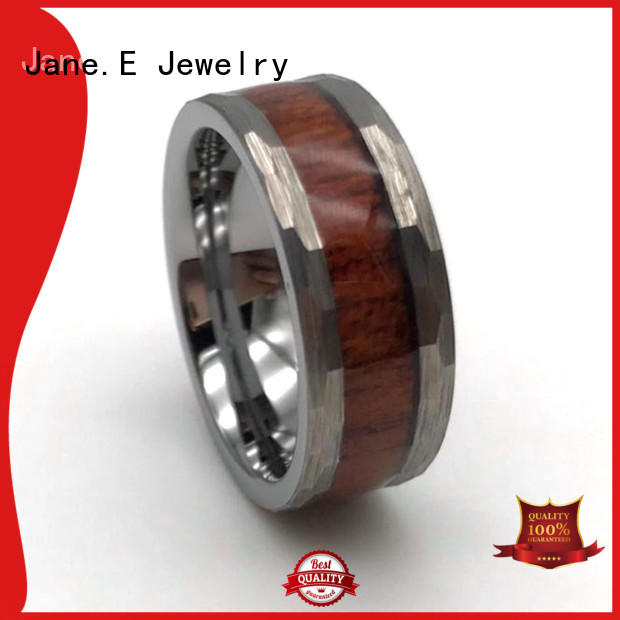 JaneE traditional rose gold tungsten mens wedding band exquisite for engagement