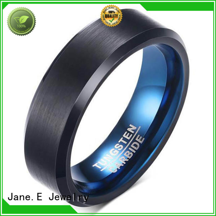 JaneE two tones wood tungsten ring engraved for engagement