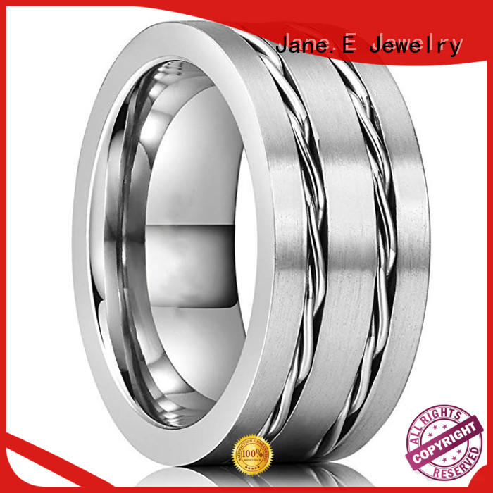 traditional tungsten wedding band inlay brushed engraved for engagement
