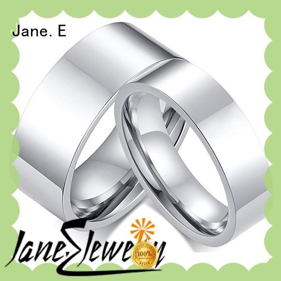 JaneE sparkle sandblasting men's titanium wedding band wholesale for engagement