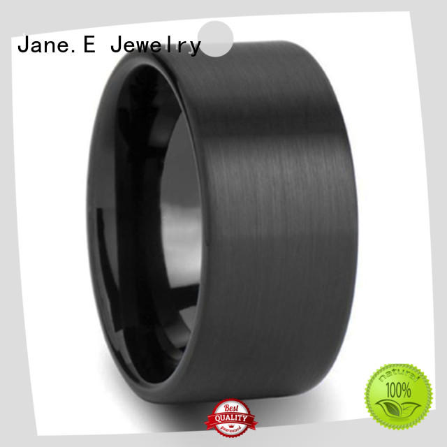JaneE shiny polished rose gold tungsten mens wedding band engraved for engagement