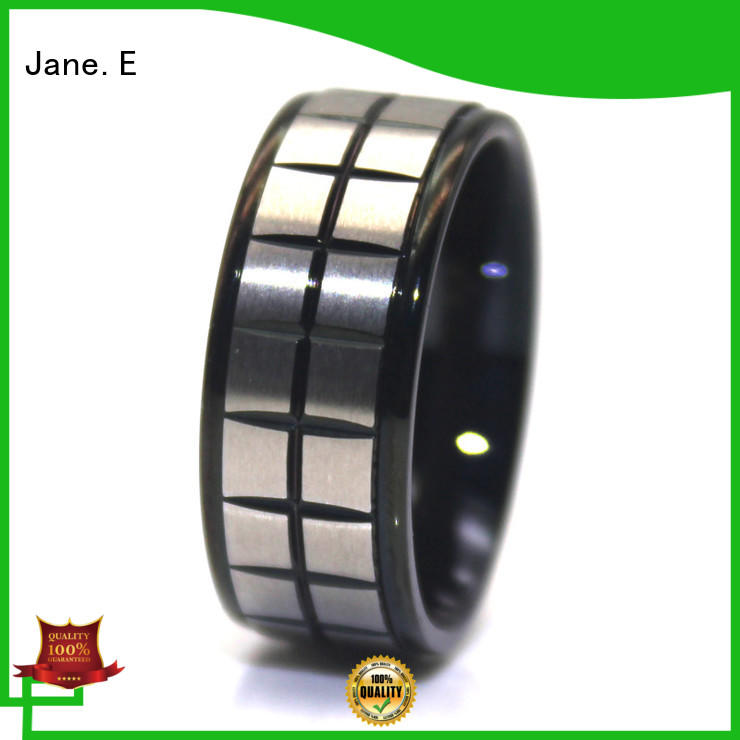 JaneE square edges stainless steel wedding bands fashion design for decoration