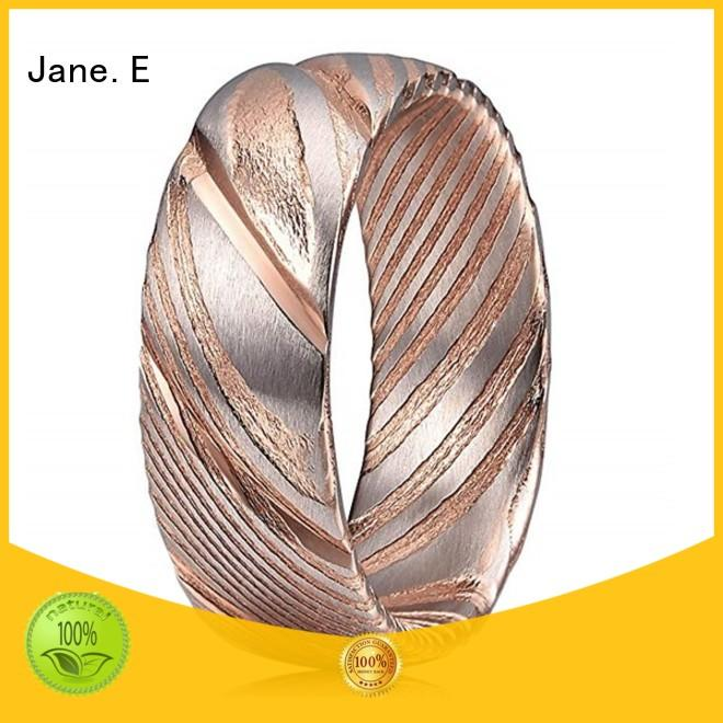 JaneE multi colors damascus steel and wood wedding band wholesale for wedding