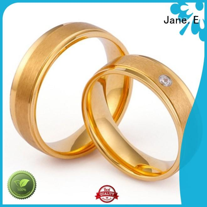 JaneE square edges simple stainless steel rings multi colors for men